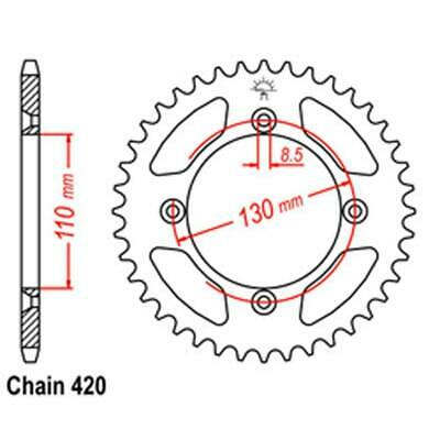 REAR SPROCKET 49 Tooth for Honda CR85R 2003 to 2008 | CR85RB Big Wheel 2003-2008