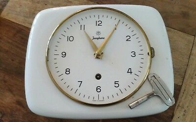 Vintage Antique Germany JUNGHANS Mechanical Porcelain Wall Clock With Key