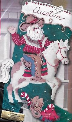 """COWBOY SANTA""  BUCILLA CHRISTMAS STOCKING KIT stamped FELT 45.7CM"