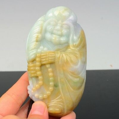 Chinese Exquisite Hand-carved Buddha Lohan carving jadeite jade Pendant