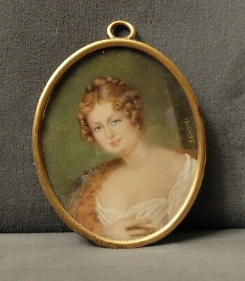 Antique Italian Miniature Portrait Painting Signed Florence Italy