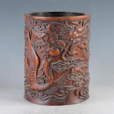 Chinese Bamboo Pole Hand Carved Dragon Brush pot DY0477