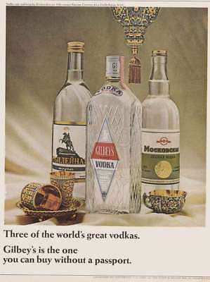 1966 Gilbey's Vodka: Three of the Worlds Great Vodkas Vintage Print Ad