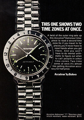 1968 Bulova Accutron: Shows Two Time Zones at Once Vintage Print Ad