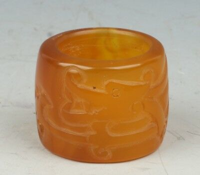 Chinese Exquisite Hand-carved Dragon carving agate Fingerstall