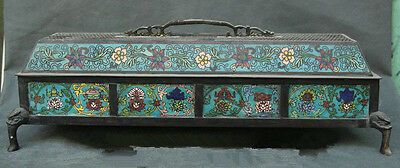 Old China Dynasty Cloisonne Bronze Beast Head Flower Box Incense Burner Zrf