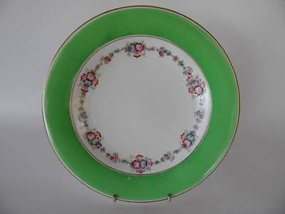Antique Victorian Hand Painted Green & Floral Plate Gold Trim Edge