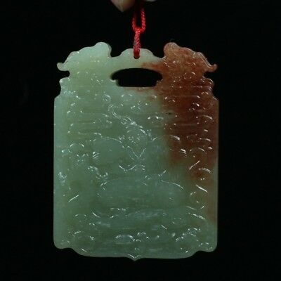 Chinese Exquisite Hand-carved beast and figures carving Hetian jade Pendant