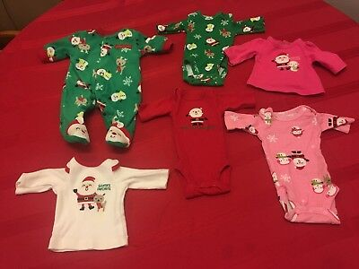 Child Of Mind Carter's Christmas preemie baby doll reborn 6 piece clothes lot