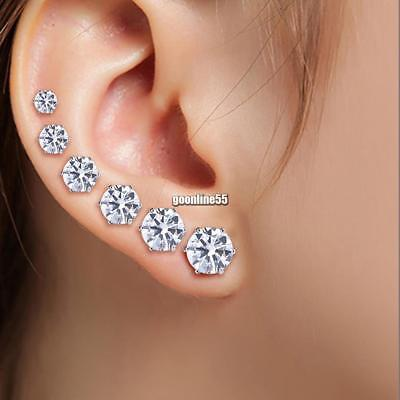 6 Pairs/Set STERLING SILVER CUBIC ZIRCONIA CZ STUD EARRINGS ROUND CLEAR UK