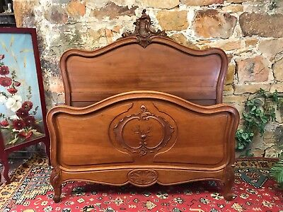 Antique French Louis Double Size Bed~Beautiful Handcarved Timber~c.1890