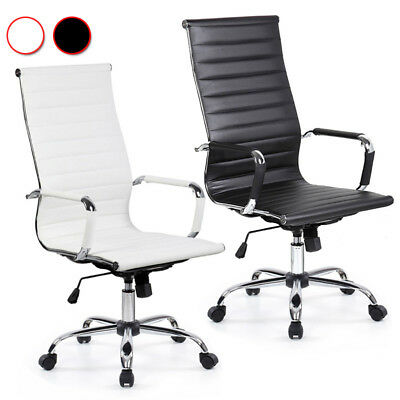 360° Swivel Office Ergonomic Leather Backrest Desk Chairs Seat Height Adjustable