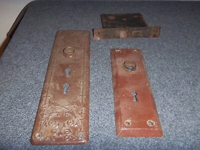 2 Antique Door Knob Backplates & 1 Lock for use with Skeleton Key