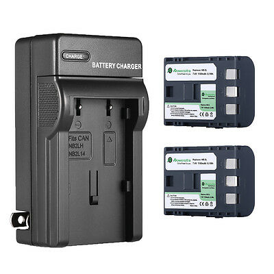 2x 1100mAh NB-2L Battery + Charger for Canon Rebel XT XTi EOS 350D 400D G7 G9