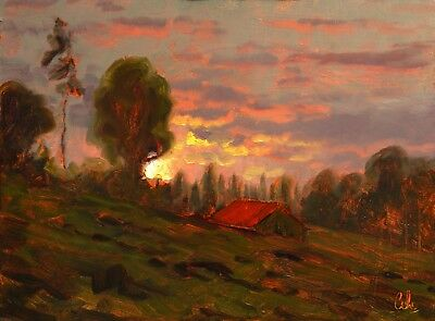 MAX COLE original oil painting signed landscape antique vintage red tree art 896