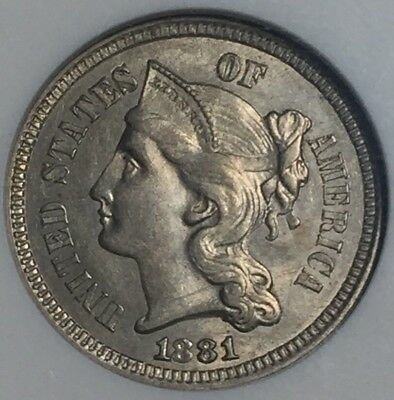 1881 3C Three Cent Nickel (ANACS AU58) HA7567JA