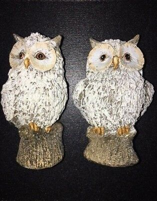 NEW! 2 White Glitter Snow Owl Light Weight Christmas Holiday Winter Décor Gift