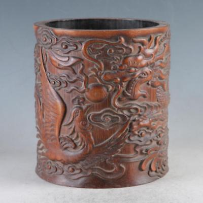 Chinese Bamboo Pole Hand Carved Dragon Brush pot DY0478