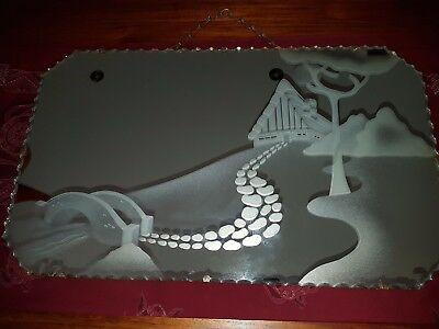 Art Deco Mirror Scalloped Edge With Etched Design