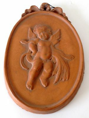 Vintage 1980's Mexican Red Clay Hand Made Angel Cherub Hanging Wall