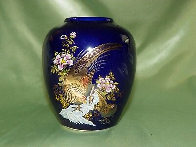 Cobalt Blue Ceramic Vase With Pheasants & Flowers, Vintage Kutani, 5 Inches Tall