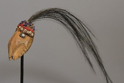 New Guinea Small mask with cassawory feather plume  on stand