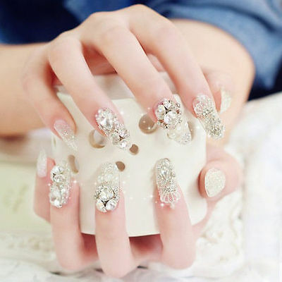A'24 Pcs Set Bling Bling Drill Non-Glue Press-On Completed Nail Tips Fake Nails