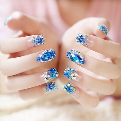 24 Pcs Blue Bling Bling Drill Non-Glue  Press-On Nail Tips Fake Nails