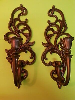 GORGEOUS VTG Set of 2 Gold Plated Ornate Syroco Wall Sconces Candle Holders