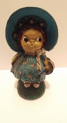 Vintage Heavy Cast Iron Dolly Dingle Bank Victorian Little Girl Doll Doorstop