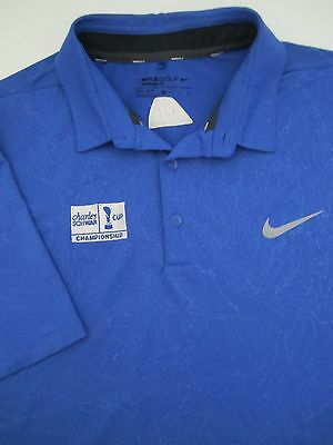 Mens XL Nike Golf Standard Fit Mobility Emboss Charles Schwab blue polo shirt