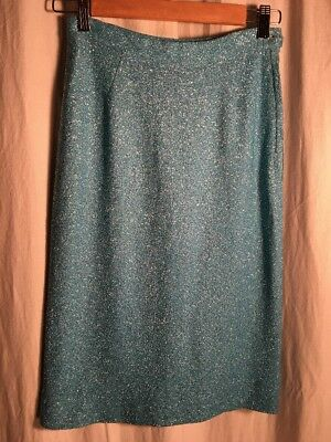 Vintage Alice Edwards Sparkly Turquoise Blue Silver 50's 60's Wiggle Skirt