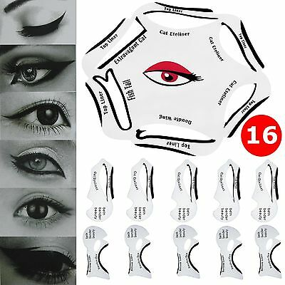6 in1 Quick Eyeliner Stencil +10 Cat Eyeshadow Guide Smokey Makeup Template Tool