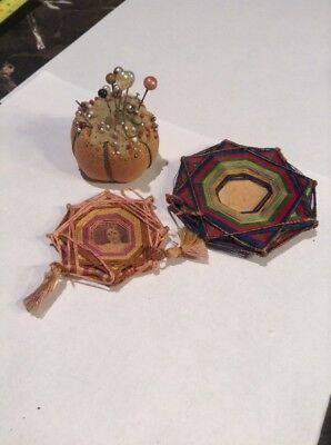Antique Arts And Crafts Thread Picture Holder And Sewing Pin Cushion