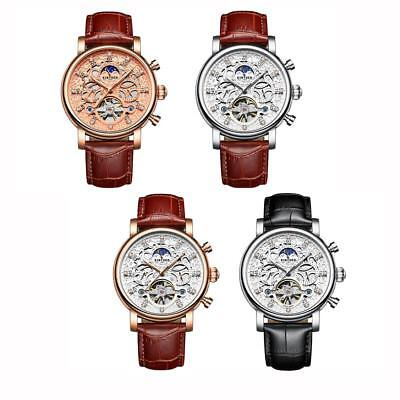 Crystal Dial Automatic Mechanical Watch Men's Leather Band Strap Wrist Watches