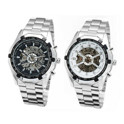 Casual Stainless Mens Skeleton Automatic Xmas Wrist Watches Gift +Key Ring