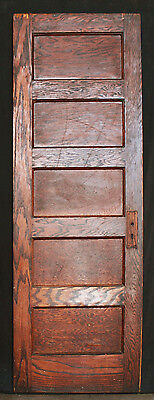 "30""x79"" Antique Vintage Interior Solid Wood Wooden Oak Door 5 Horizontal Panels"