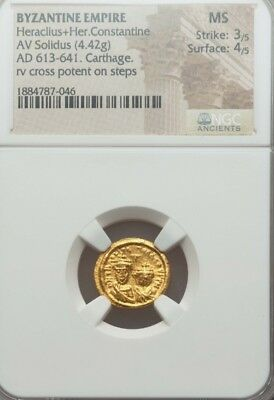 Byzantine Empire Heraclius + Her. Constantine NGC  MS 3/4 ancient gold coin