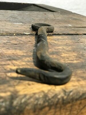 Antique Vintage Hand Forged Twisted Wrought Iron Steel Gate Latch Hook