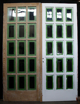 """60""""x79 Antique Vintage French Wood Pair Double Entry Door Wavy Window Glass Lite"""