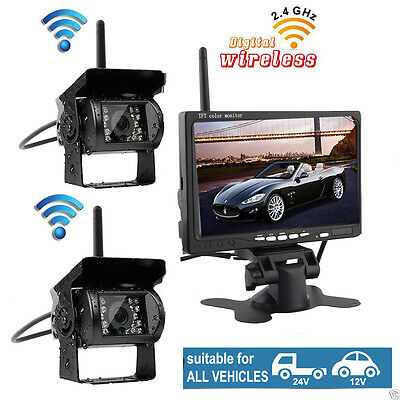 "7"" Monitor+2X Wireless Rear View Backup Camera Night Vision For RV Truck Bus VAN"