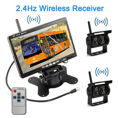 """For RV Bus Truck Wireless Rear View Backup Night Vision 2 Cameras+7"""" TFT Monitor"""