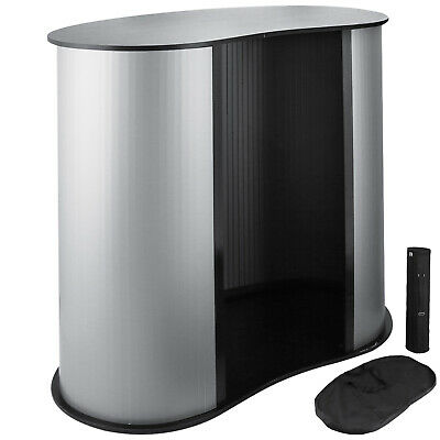 Trade Show Display Black Portable Podium Impact Table Counter Stand Oval Bean