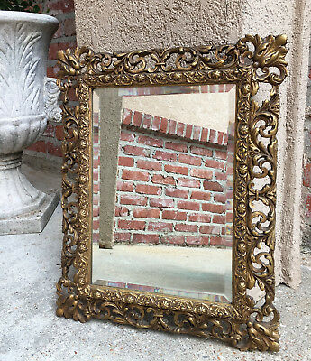 Petite Antique French Carved GOLD GILT Frame Beveled Wall Mirror Louis XV Gesso