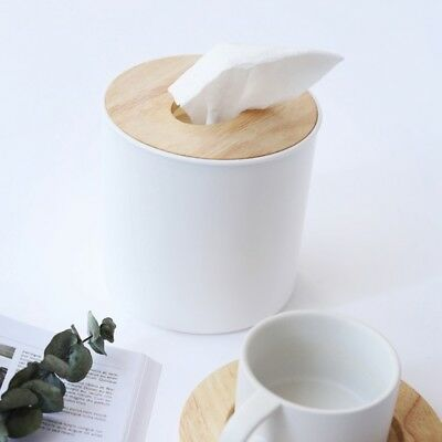 Plastic + Wood Round Tissue Paper Storage Box Cover for Living Room Bathroom Car