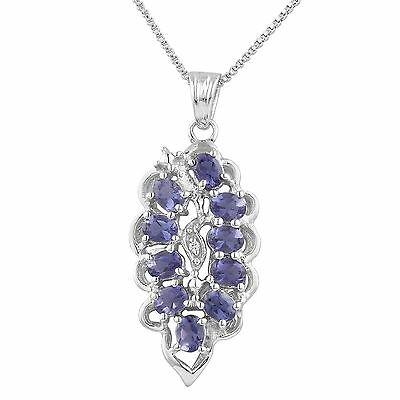 Beautiful 925 Sterling Silver Natural Iolite Gemstone Pendant Rhodium Plated