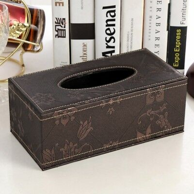 Floral Leather Tissue Box Cover Pumping Paper Car Home Hotel Napkin Holder Case
