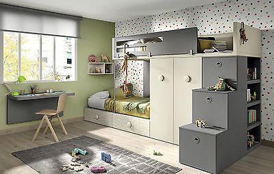 modernes hochbett kinderzimmer set inkl kleiderschrank. Black Bedroom Furniture Sets. Home Design Ideas