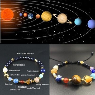 Universe Galaxy 8Planets Solar System Guardian Star Natural Stone Beads Bracelet