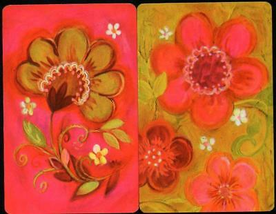 Vintage Retro Flowers X2 Swap Cards In Excellent Condition